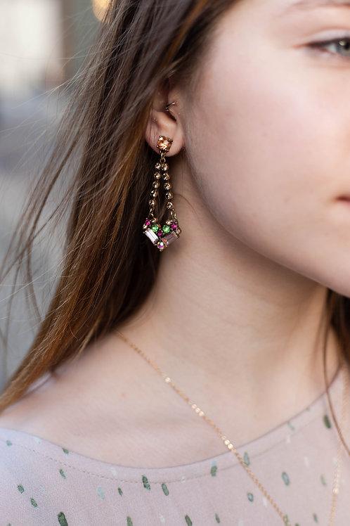 Pink Stone Dangle Earrings
