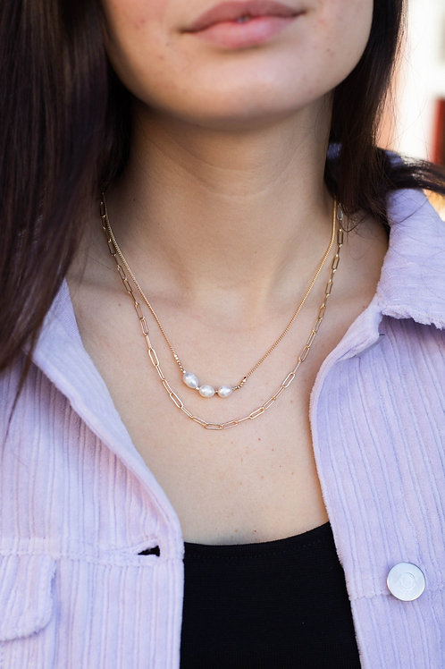 Three Pearl Layered Chain Necklace
