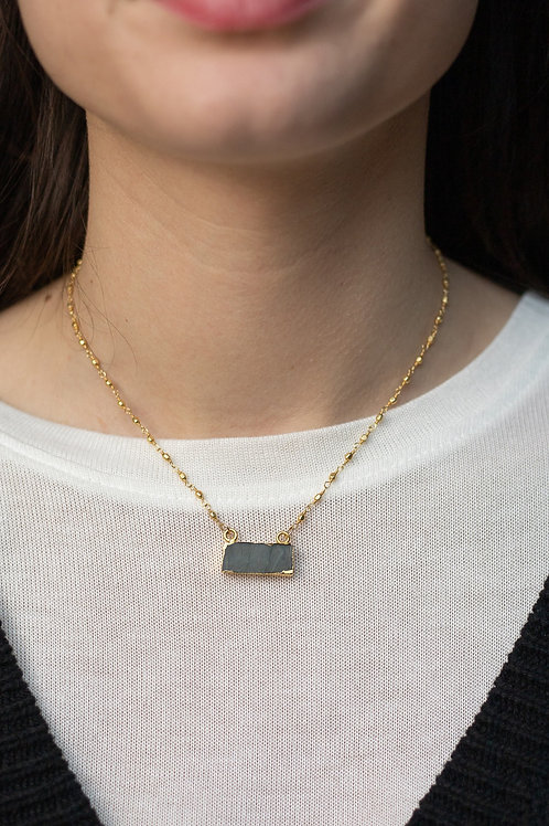 Handmade Labradorite Rectangle Necklace