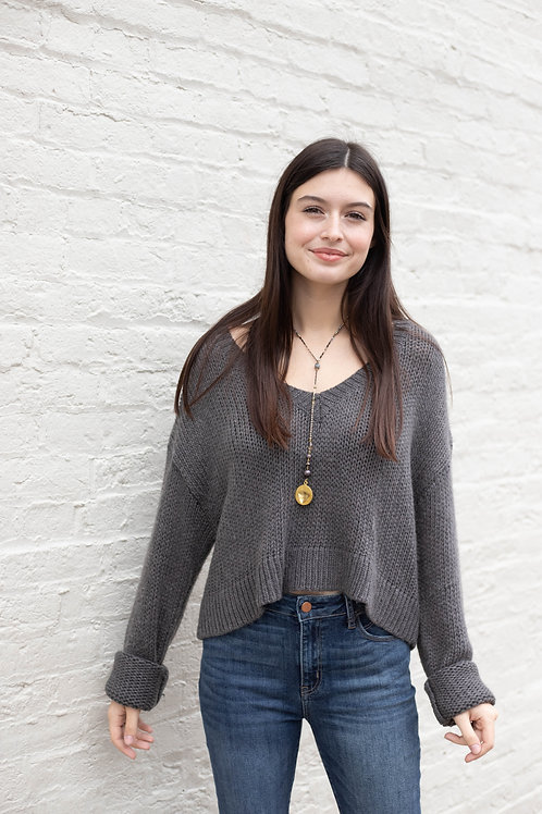 Charcoal V Neck Cropped Sweater