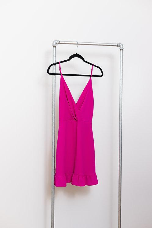 Hot Pink or Black Pleated Ruffle Dress