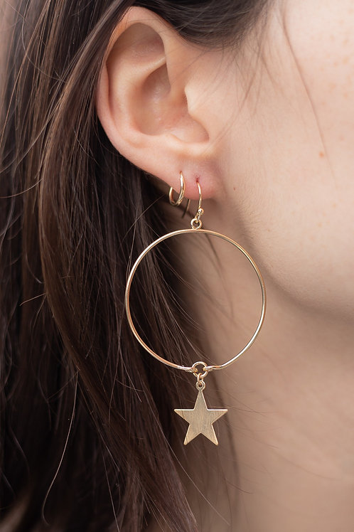 Brushed Gold or Silver Star Dangle Earrings