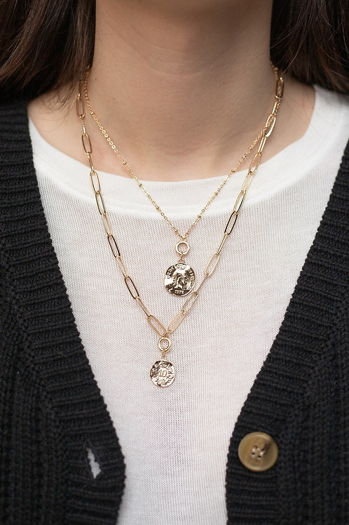 Gold Coin and Chain Layered Necklace