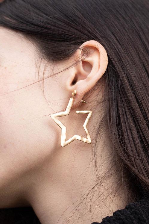 Hammered Gold Star Hoop Earrings
