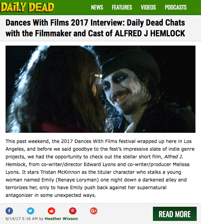 DailyDead Screen capture. Picture of Alfred J Hemlock leering at Emily