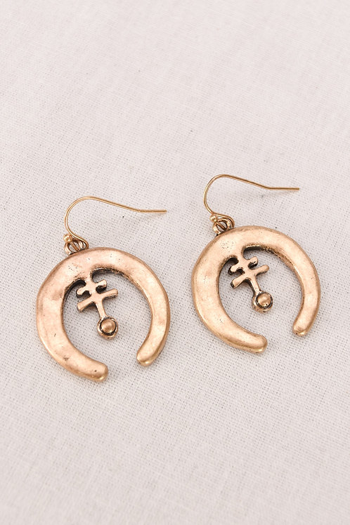 Matte Gold Crescent Earrings