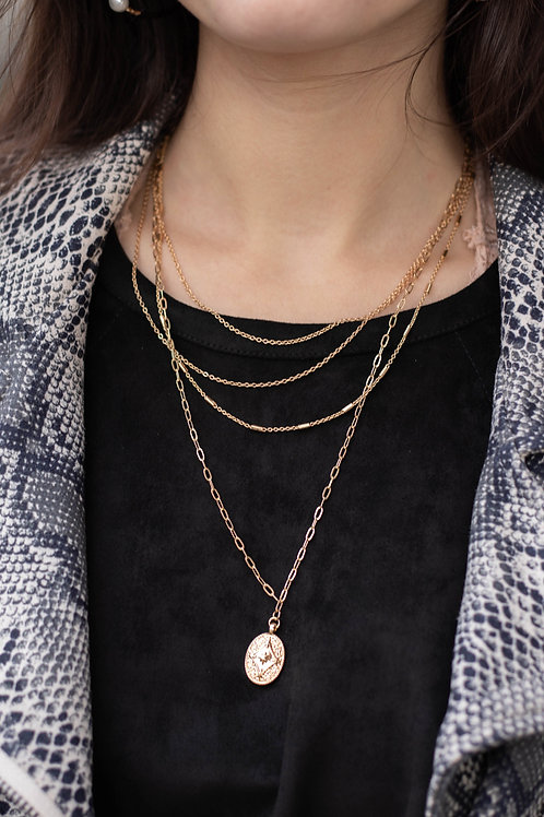 Layered Chain and Pendant Gold Necklace
