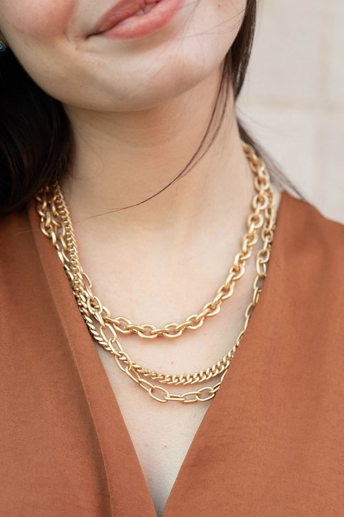 Matte Gold Chain Layered Necklace