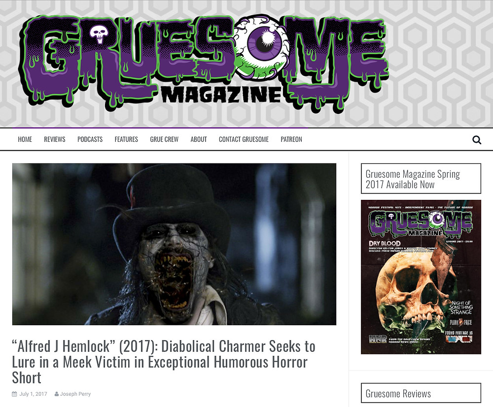 Gruesome Magazine featuring a picture of a demonic Alfred J Hemlock