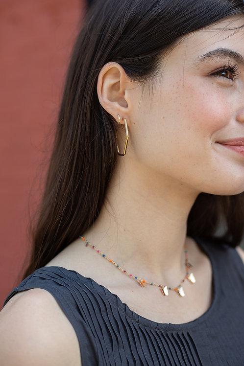 Gold or Silver Hexagon Hoop Earrings