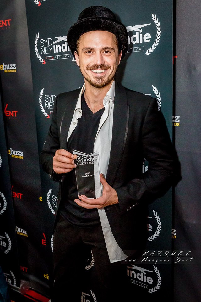 Actor Tristan Mckinnon with his award for Best Male Lead Actor at the Sydney Indie Film Festival