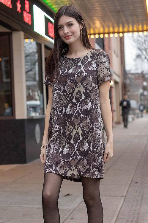 Snake Print Short Sleeve Zipper Back Dress