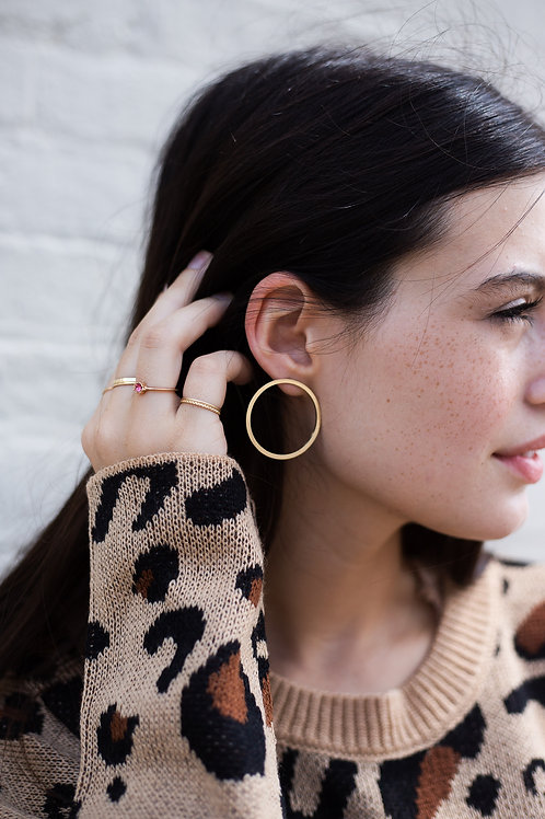 Gold or Silver Circle Stud Earrings