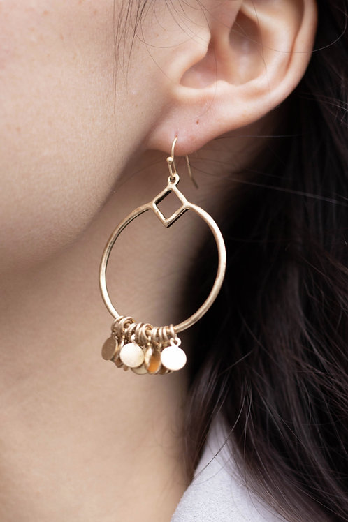 Gold Dangle Disc Earrings