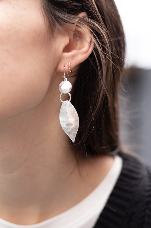 Brushed Gold or Silver Leaf Earrings