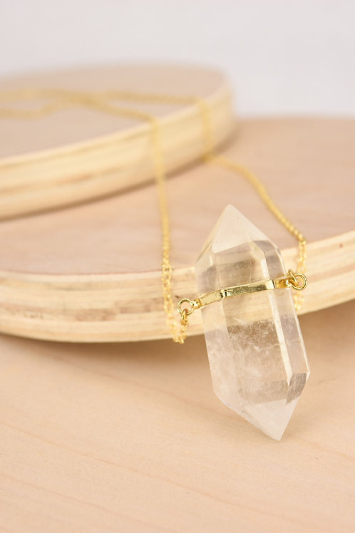 Double Terminated Crystal Point Necklace