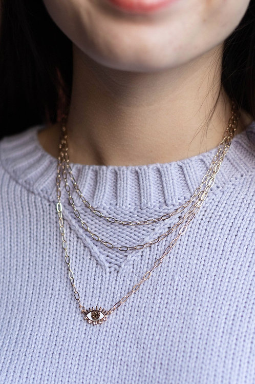 Layered Chain and Eye Necklace