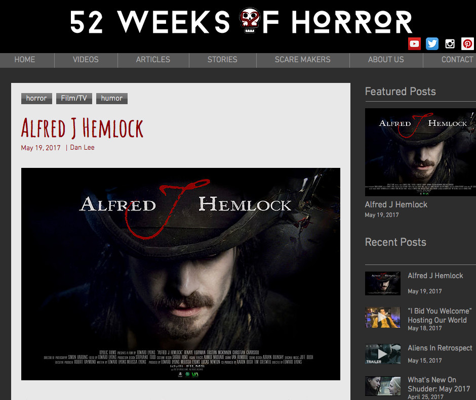 52 Weeks of Horror featuring the film poster for Alfred J Hemlock