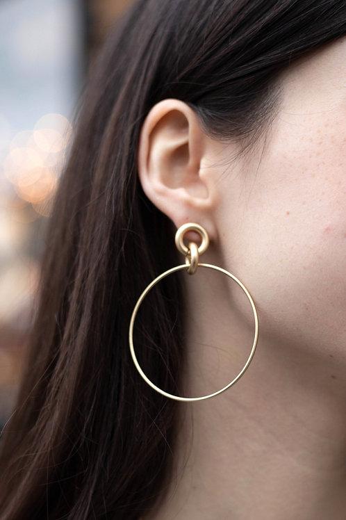Circle Chain Link Dangle Earrings