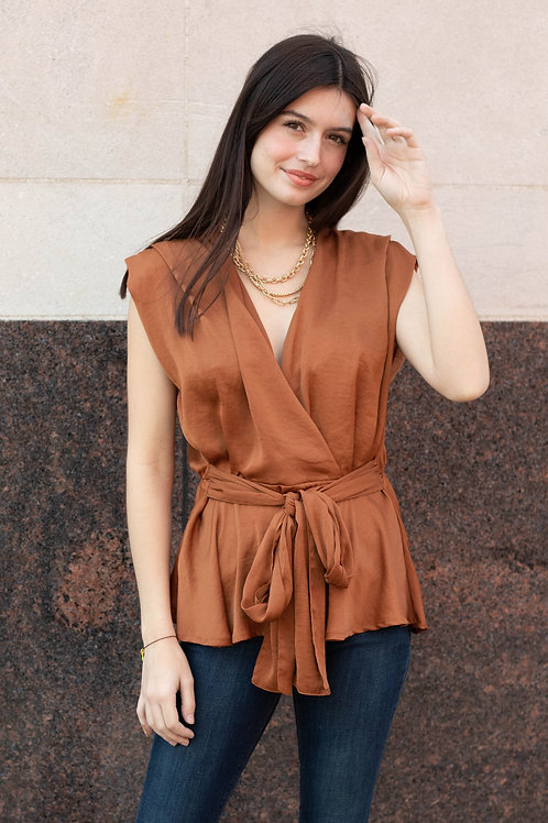 Front Tie Short Sleeve Blouse