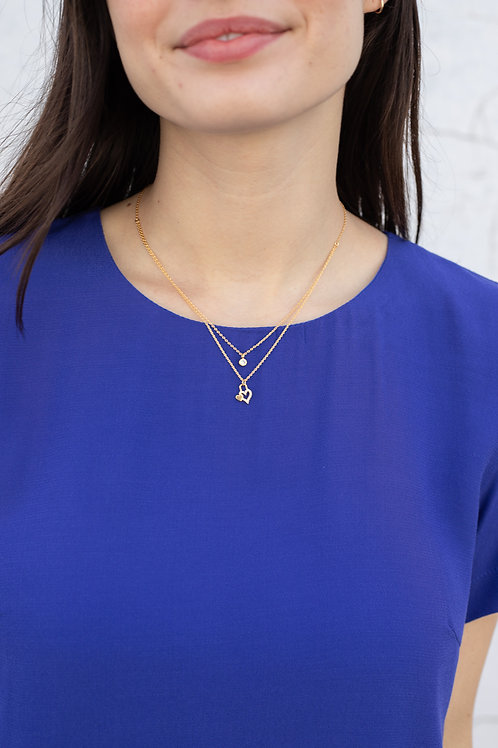 Double Heart and Rhinestone Layered Necklace