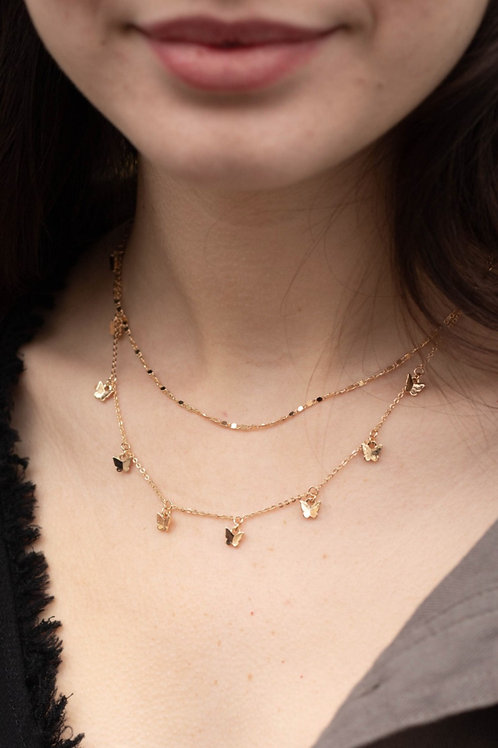 Butterfly and Chain Layered Necklace