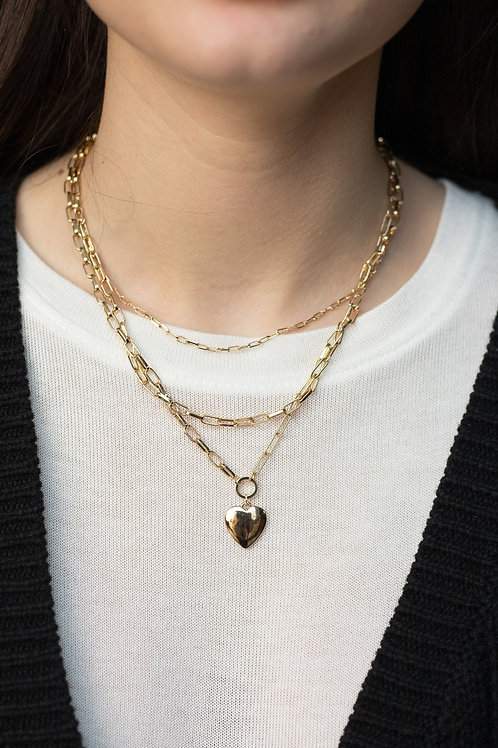 Layered Chain and Heart Pendant Necklace