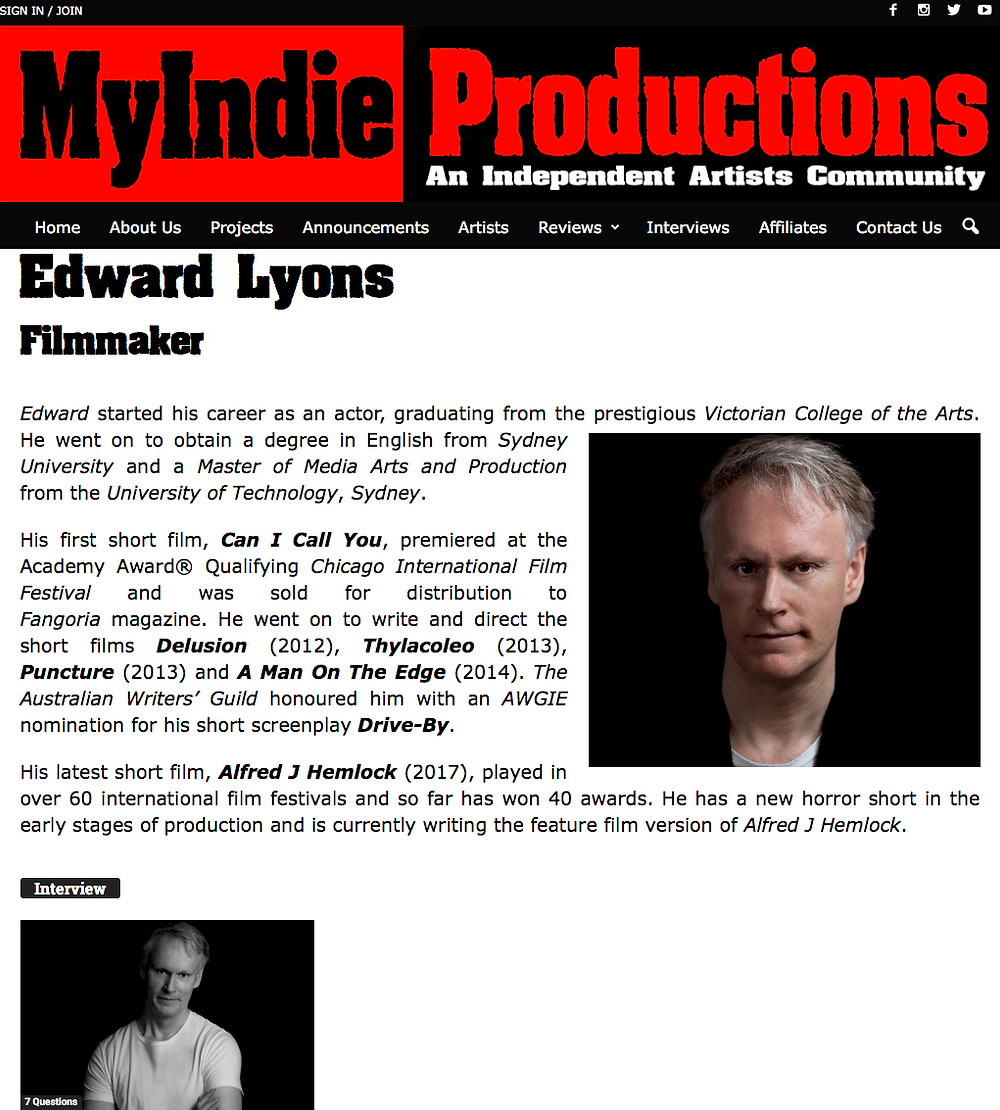 Picture of Edward Lyons on the MyIndie Productions Featured Artists page