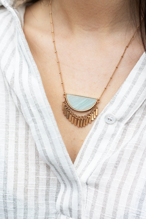 Semiprecious Stone Necklace with Gold Fringe