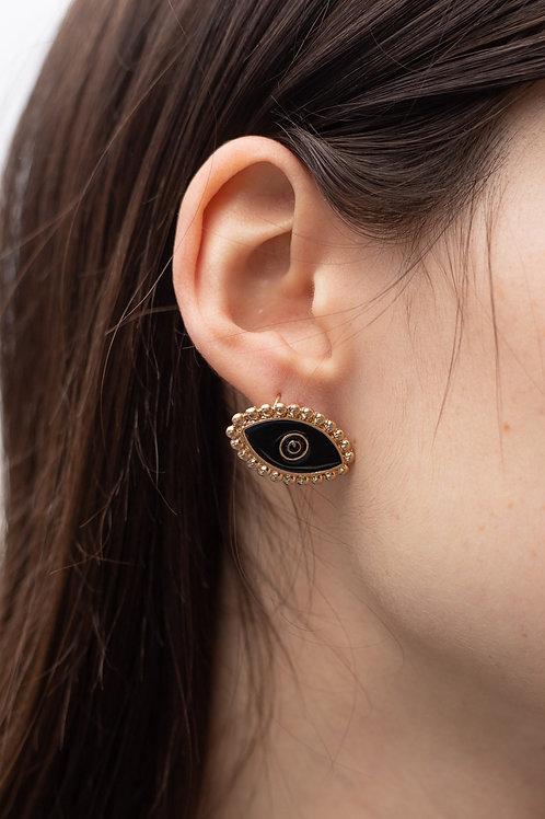 Black Enamel Evil Eye Stud Earrings