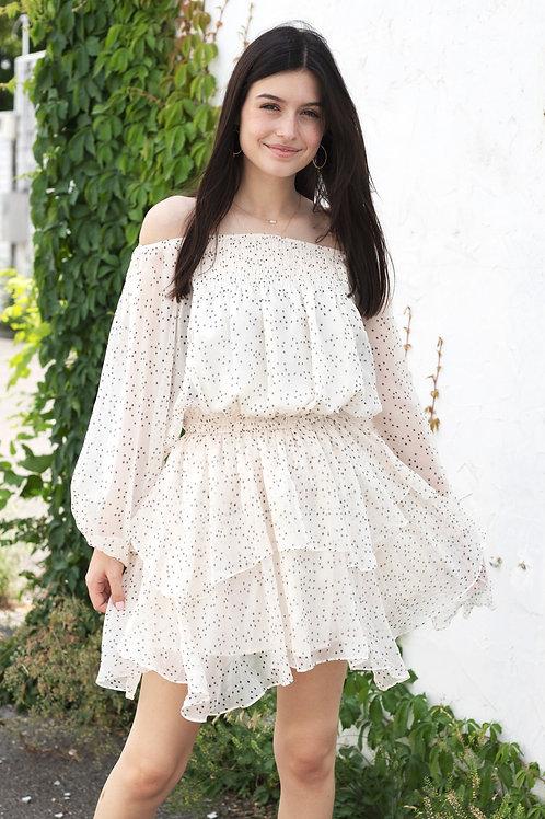 Off the Shoulder Star Printed Dress