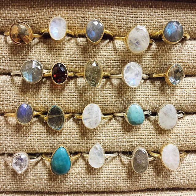 Semiprecious gemstones in sterling silver and gold vermeil