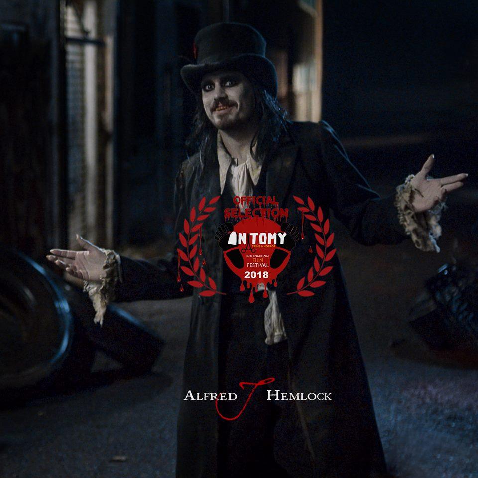 Alfred J Hemlock with laurel for the Anatomy Crime & Horror International Film Festival