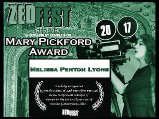 Melissa Lyons Wins the Zed Fest Film Festival Mary Pickford Award