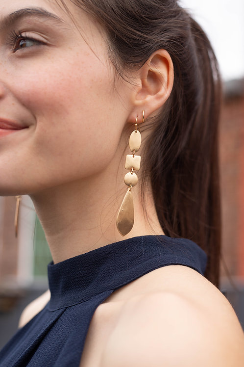 Gold Geometric Dangle Earrings