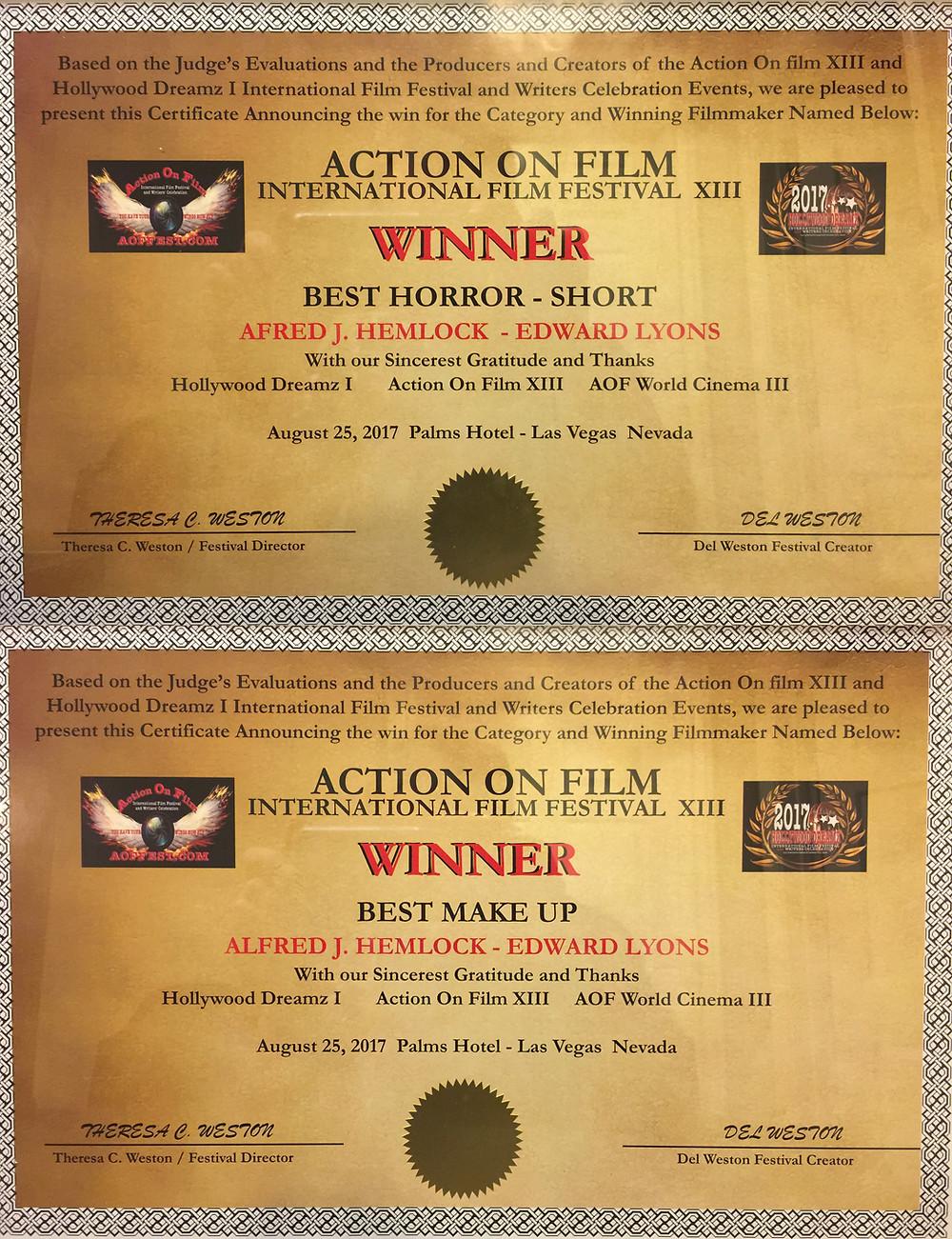 Alfred J Hemlock Winner Best Horror Short Winner Best Make Up