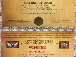 Alfred J Hemlock Won 2 Awards at Action On Film International Film Festival