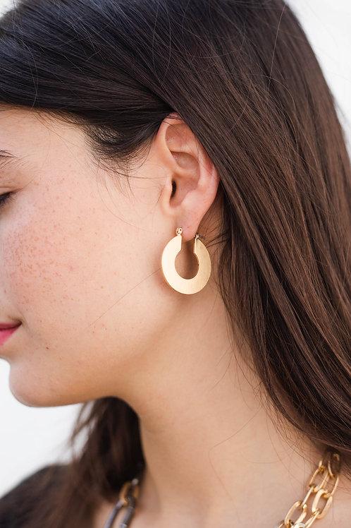 Small Brushed Gold Hoop Earrings