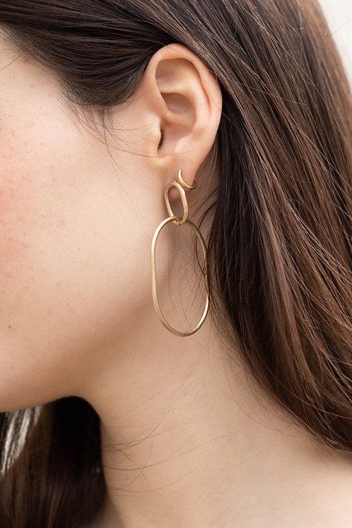 Gold Circle Dangle Earrings