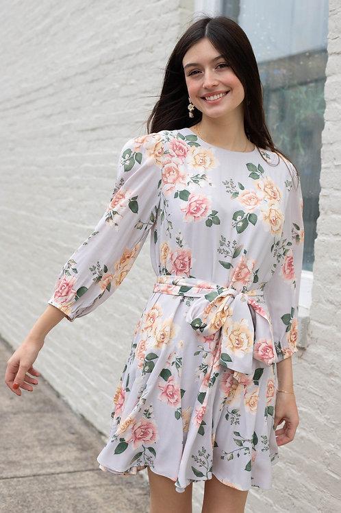 Flowy Floral Tie Waist Dress