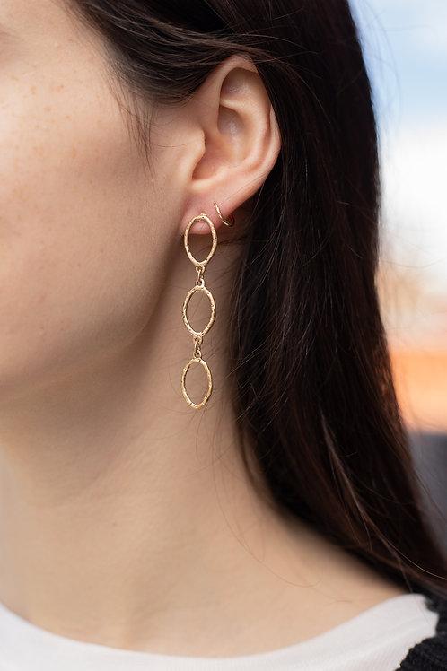 Hammered Oval Dangle Earrings