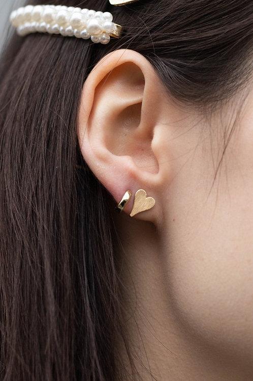 Matte Gold Heart Stud Earrings