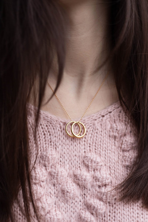 Gold Filled Double Circle Dainty Necklace