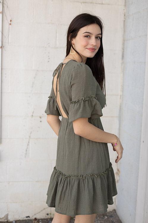 Olive Green Tie Back Short Sleeve Dress
