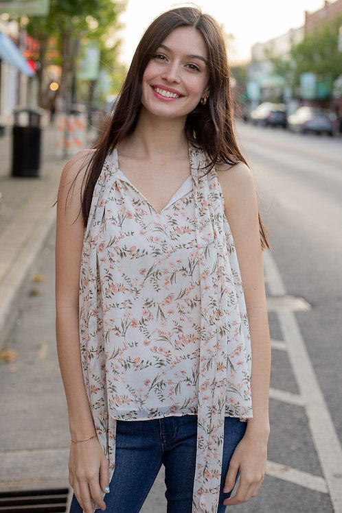 Ivory Floral Tie Neck Tank Top