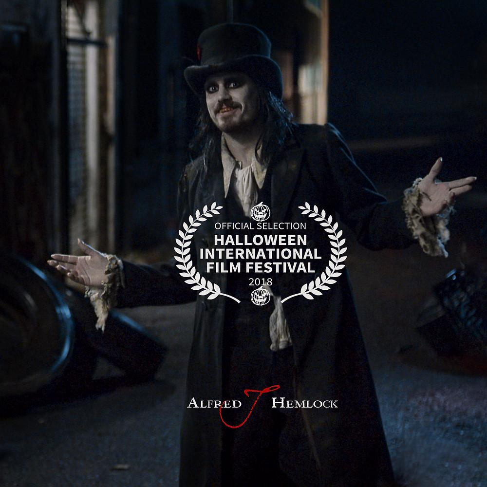 Alfred J Hemlock with Halloween International Film Festival acceptance laurel