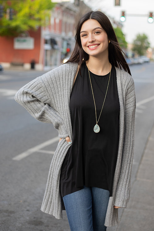Grey or Oatmeal Sweater Knit Ribbed Cardigan