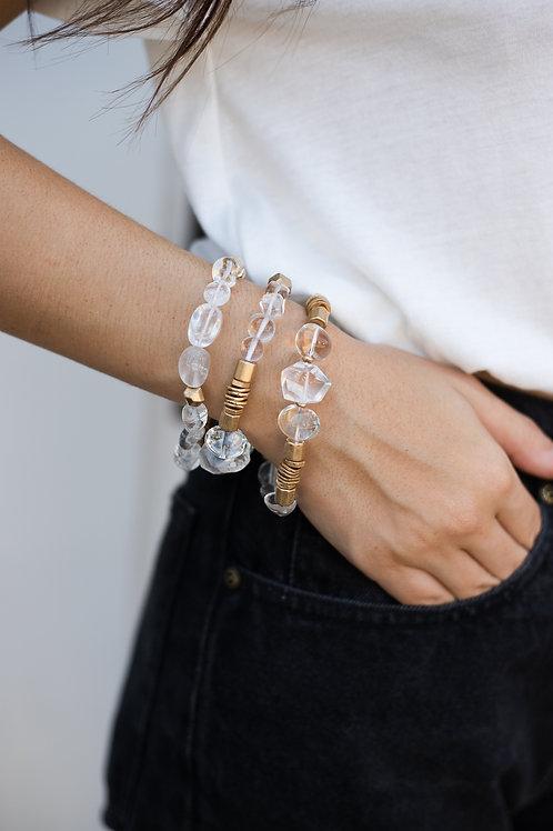 Beaded Stone & Gold Bracelet