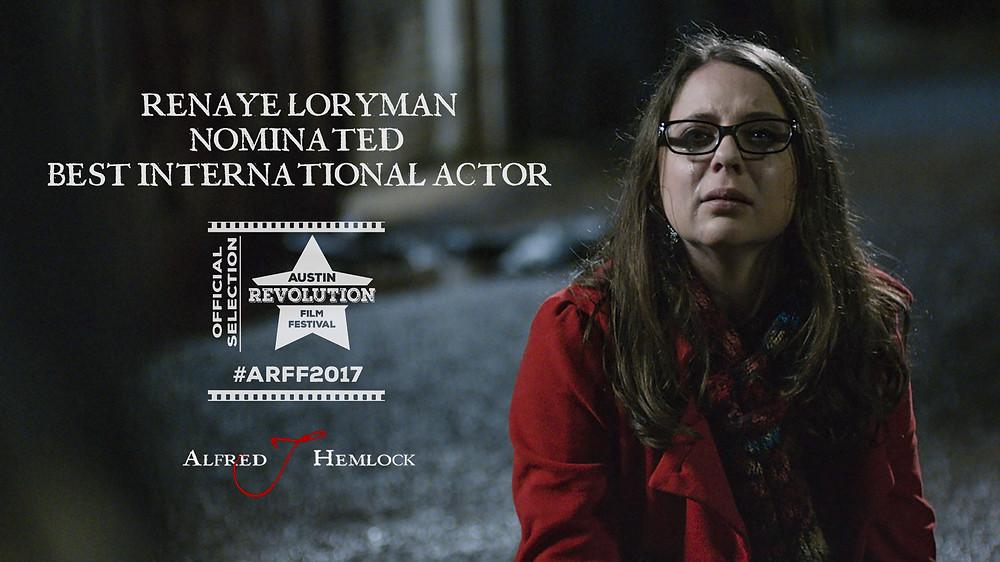 Still of Lead Actress Renaye Loryman Austin Revolution Film Festival Logo