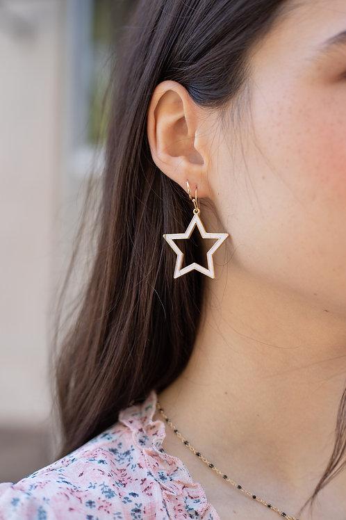 Star Enamel Dangle Earrings - Black or White